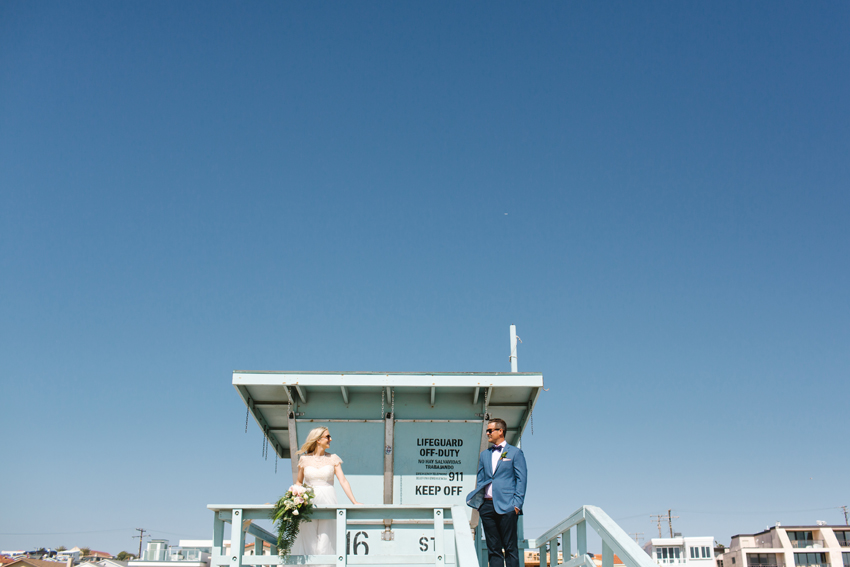 bride, lifeguard, los angeles, hermosa beach