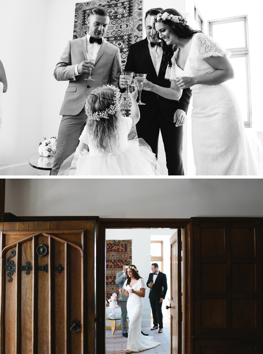 bride, groom, daughter, champagne