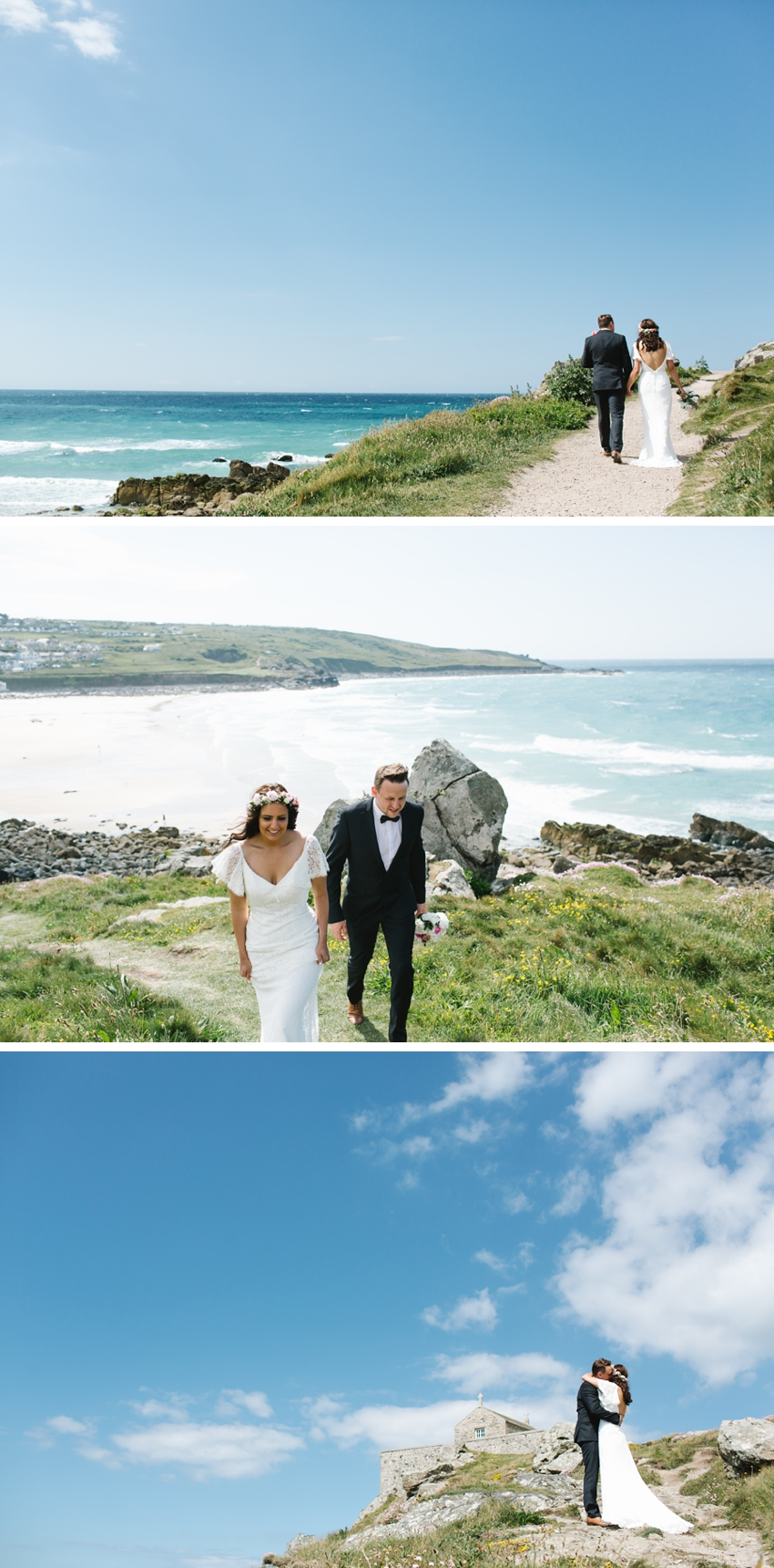 porthmeor, beach, wedding, bride