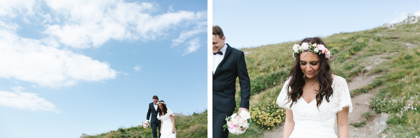 bride, groom, walking, beach