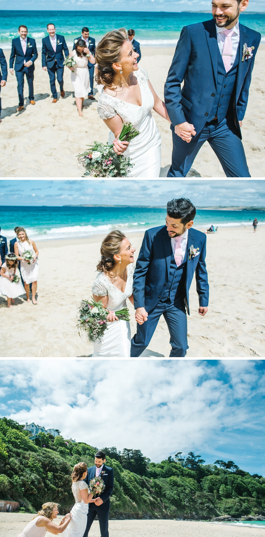 bride, groom, beach, cornwall