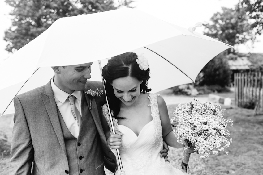 bride, groom, umbrella, rain