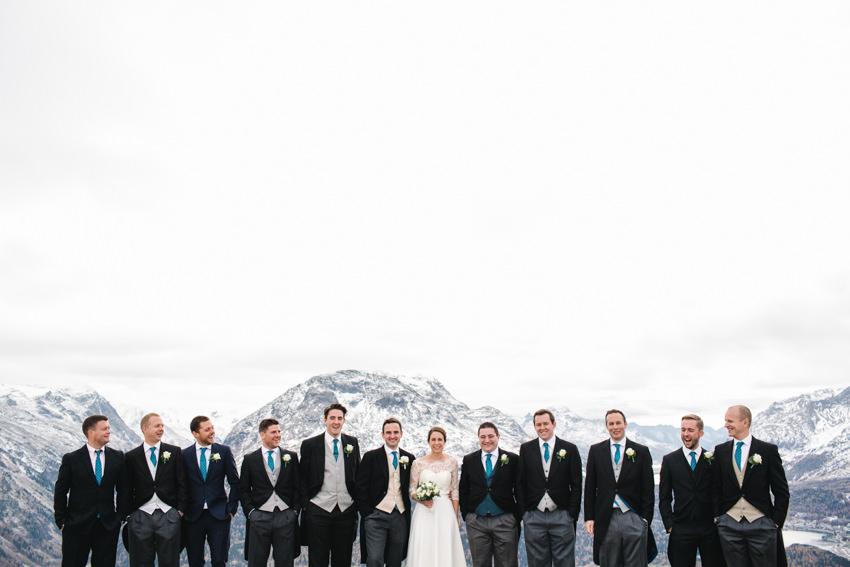 Bridal Party, Snow, Wedding, Switzerland