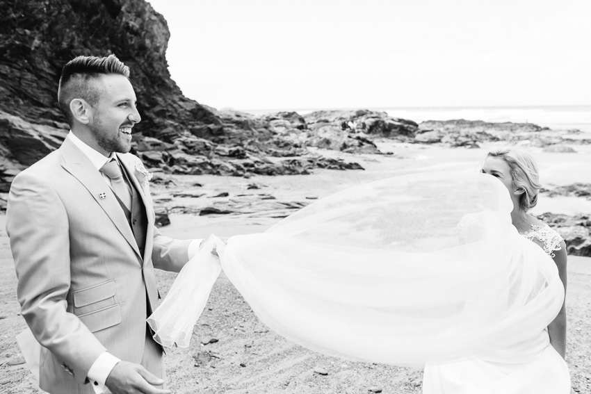 Couple, beach, wedding, cornwall