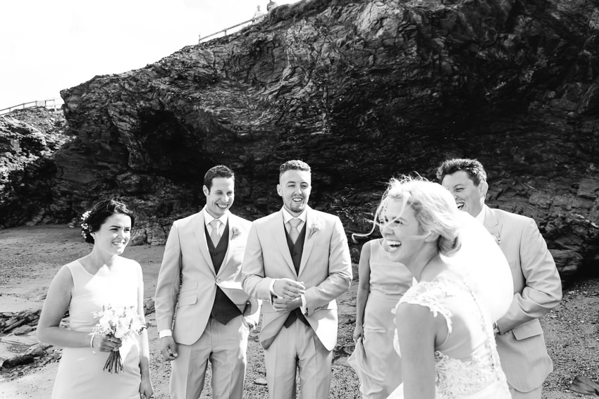 Beach, wedding, cornwall, bridal party