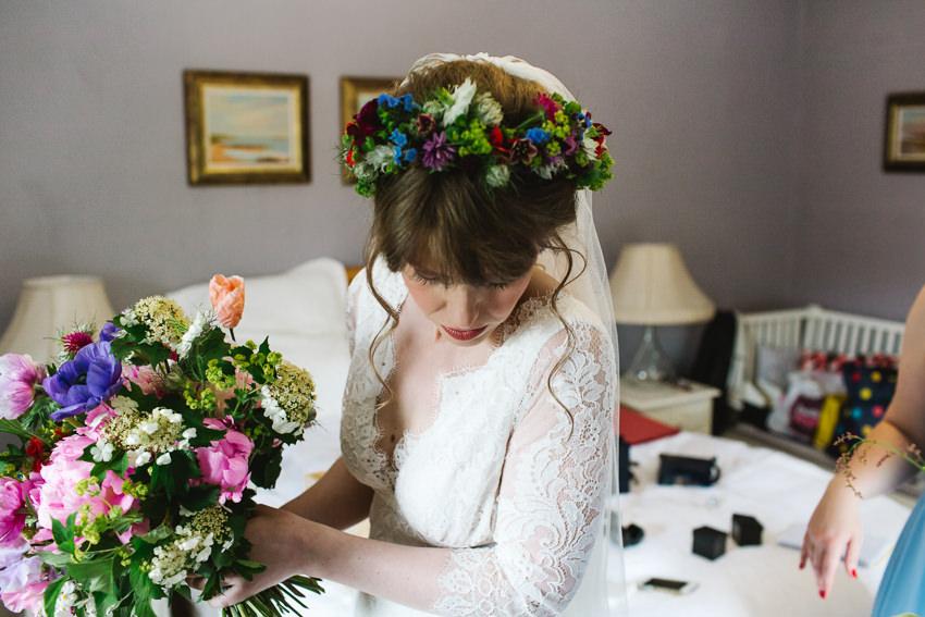 floral head crown bride