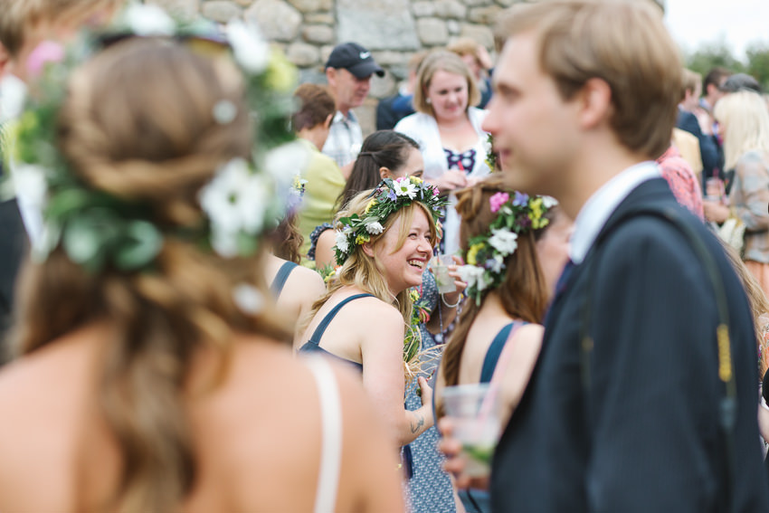 bridesmaids, floral crown, rustic