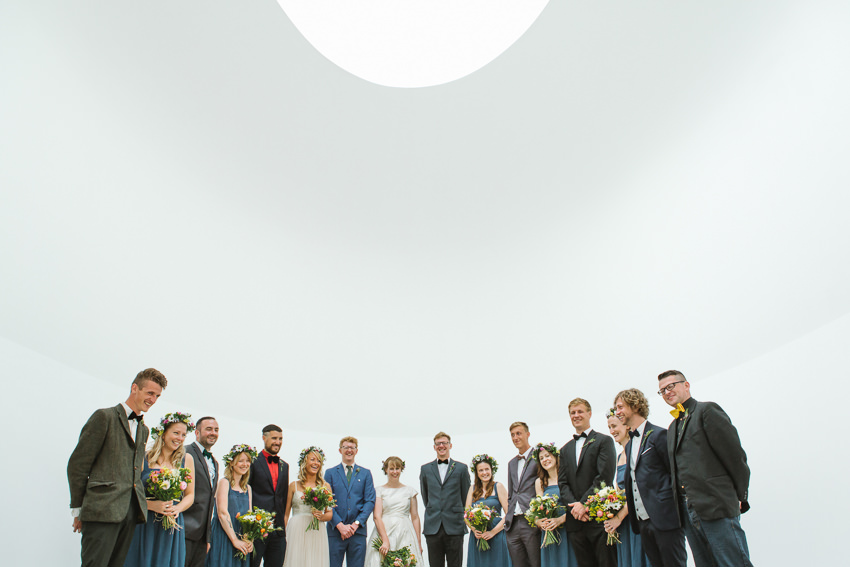 bridal party, skyspace, cornwall