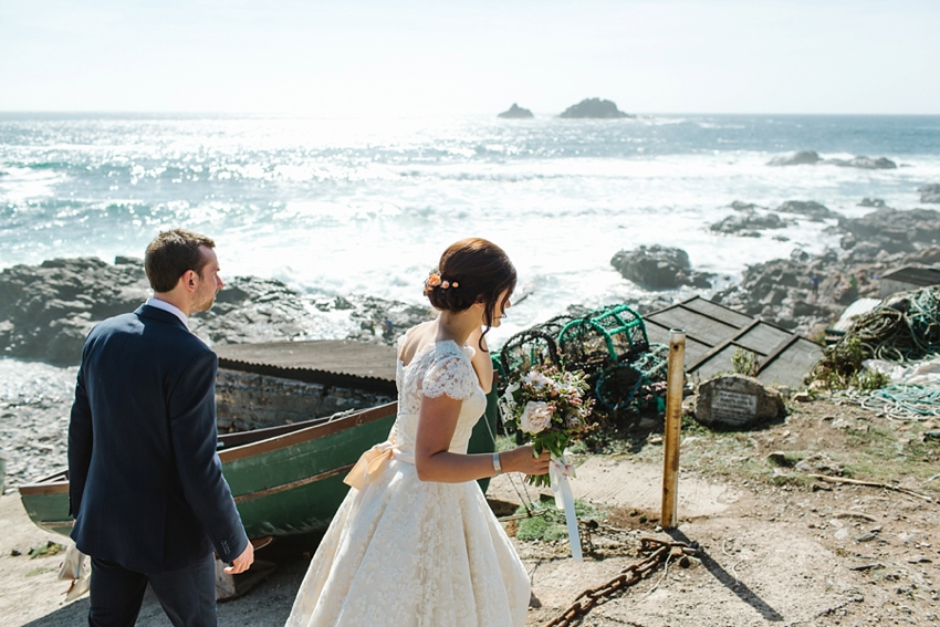 boho, cornwall, wedding, cape, elopement
