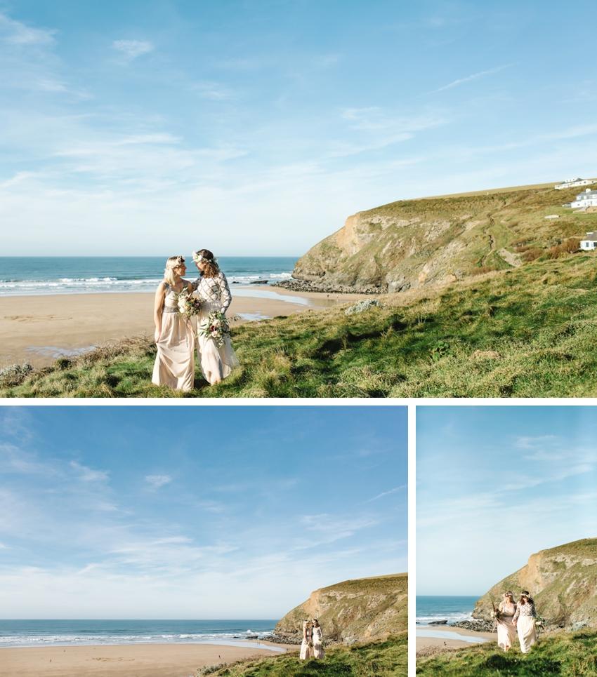 Beach, Elopement, Cornwall, Boho, Scarlet