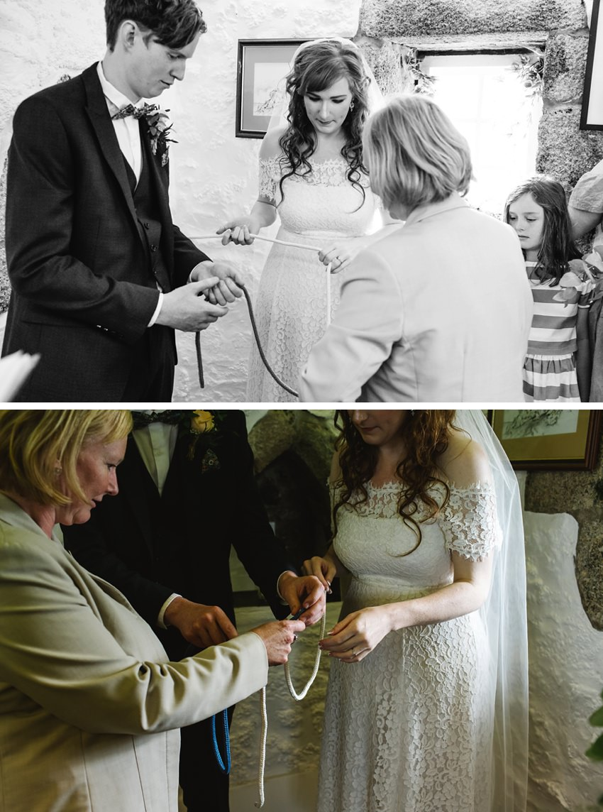 st ives elopement, st nicholas chapel, Cornish celebrants, twigs and greens, knot tying ceremony