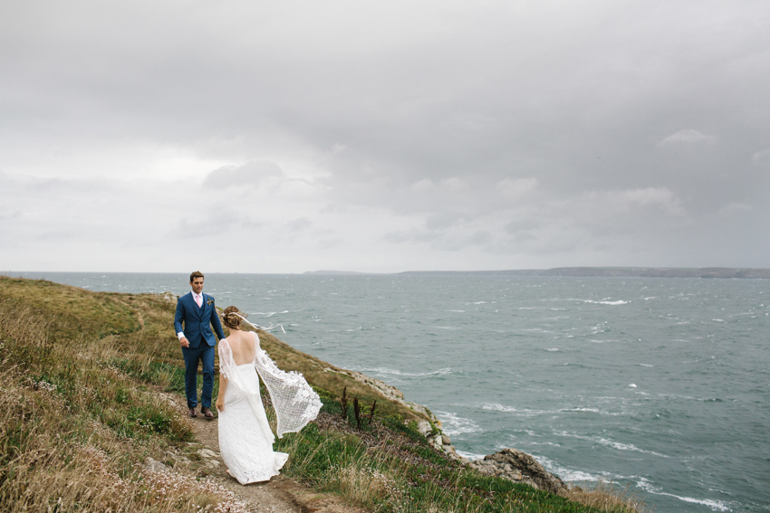 Grace Loves Lace Verdelle Dress UK, Cornwall wedding, Beach ceremony