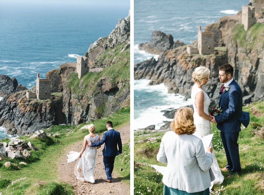 clifftop, ceremony, botallack, elopement, wedding