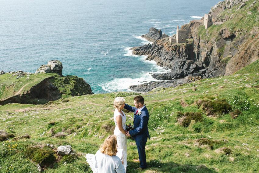 clifftop, ceremony, botallack, elopement, wedding
