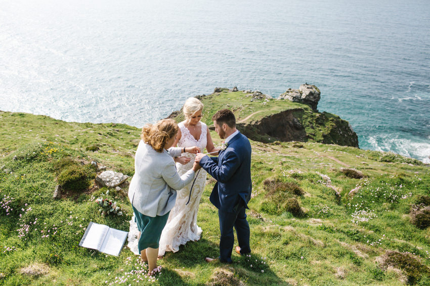 clifftop, hand fasting, ceremony, botallack, elopement, wedding