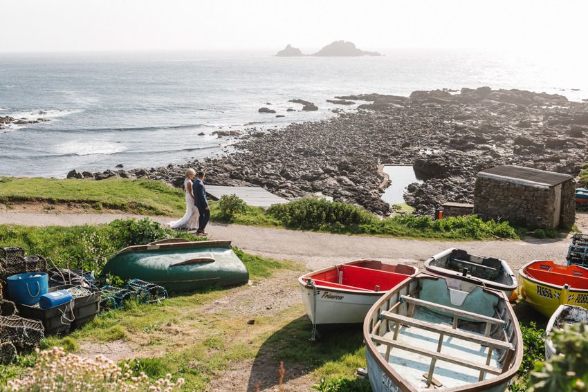 Petite, Wedding, elopement, cornwall, clifftop